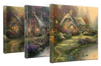 Thomas Kinkade The Cottages Wrap 14 x 14 Gallery Wrapped Canvas (Set of 3)