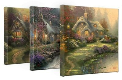 """Thomas Kinkade Wrap - The Cottages – Set of 3 14"""" x 14"""" Gallery Wrapped Canvas"""