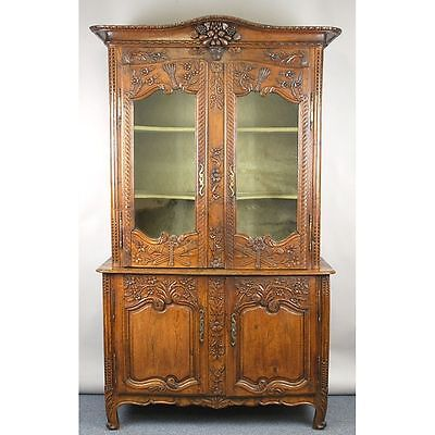 ANTIQUE CARVED FRENCH COUNTRY LOUIS XV DEUX CORPS BOOKCASE CABINET