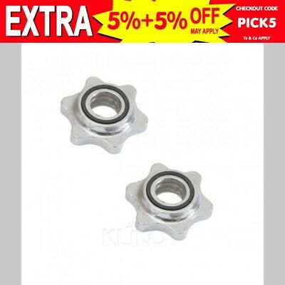 2x 25mm STANDARD BARBELL DUMBBELL LOCK COLLARS LOCKING SPIN BAR WEIGHTS GYM HOME