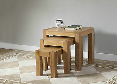 Contemporary Solid Oak Nest Of 3 Tables