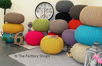 Large 60Cm Knitted Pouffe Chunky Knit Foot Stool Cushion Moroccan Cotton Ikat