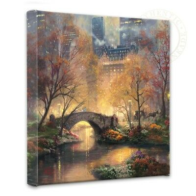 """Thomas Kinkade Wrap - Central Park in the Fall 14"""" x 14"""" Wrapped Canvas"""