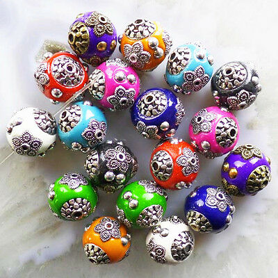 GSAM639 Beautiful Carved Mixed Tibet silver flower pendant bead 20pcs