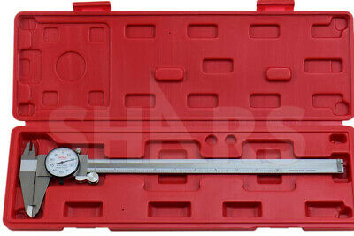 """SHARS 12"""" DIAL CALIPER SHOCK PROOF .001"""" STAINLESS 4 WAY + Inspection Report NEW"""