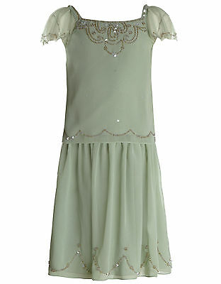 Girls Monsoon Dress 2 piece set outfit Isla Wedding party bridesmaid green sequi