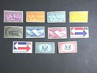 USA 1927-71 SPECIAL DELIVERY ISSUES, 11 DIFF INC AIR SPECIAL DELIVERY PAIR