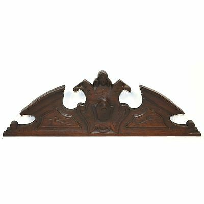 Antique Carved Oak French Architectural Salvaged Louis Xiii Crest