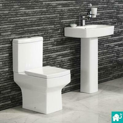 Modern Close Coupled Square Toilet Basin Pedestal Complete Bathroom Suite