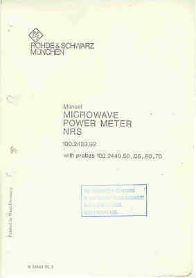 Rohde & Schwarz NRS 100.2433.92 Microwave Power Meter Service Manual Loc RS30