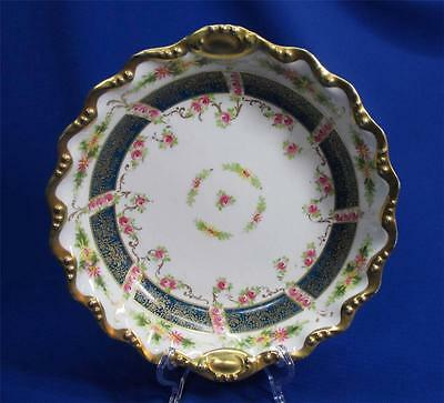 HAND-PAINTED LIMOGES GOLD AND ROSES ROUND BOWL