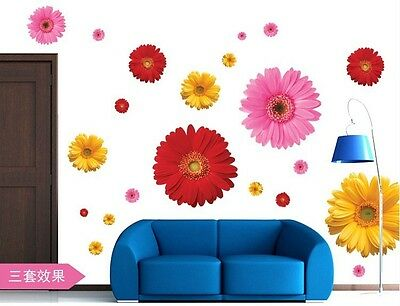 Romantic Daisy Flower Removable Decal Mural Home Room Decor Wall Sticker AY6015