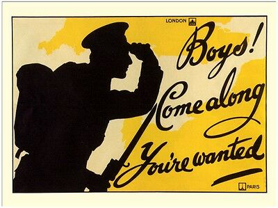 Boy's! Come Along You're Wanted - Wartime Poster