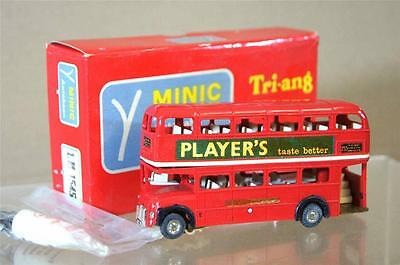 TRIANG HORNBY MINIC MOTORWAY M1545 FRENCH LONDON TRANSPORT DOUBLE DECKER BUS mv
