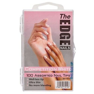 THE EDGE BOX 100 COMPETITION FRENCH WHITE WELL-LESS NAIL TIPS acrylic uv gel