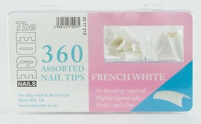 THE EDGE BOX 360  FRENCH WHITE HALF WELL NAIL TIPS acrylic uv gel fibreglass