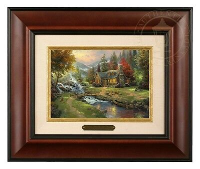 Thomas Kinkade Mountain Paradise Framed Brushwork (Burl Frame)