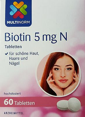 BIOTIN - Hair Skin Nails Strength 5000 mcg / 5 mg N - 60 Tablets - Germany.