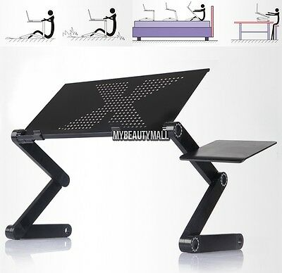 foldable 360 Adjustable laptop Notebook Desk Table Fan hole Stand Portable Bed