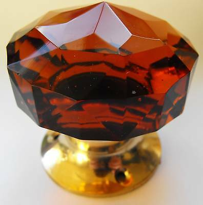 Amber door knob  large cut  glass ( single) Brass base