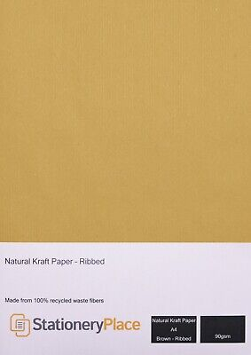 Eco Ribbed Kraft Paper 90 GSM Recycled A4, A5 1 to 100 sheet pack