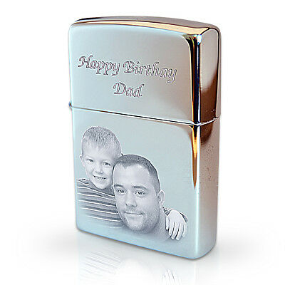 Genuine ZIPPO Lighter Personalised Engraved with Photo & Text | Valentine's Gift