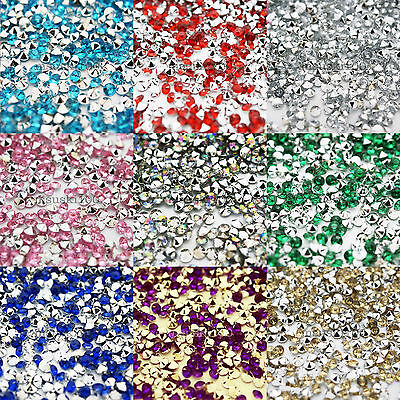 2000 Diamond Table Confetti Crystal Silver Back Acrylic Scatter Beads 4.5mm NEW