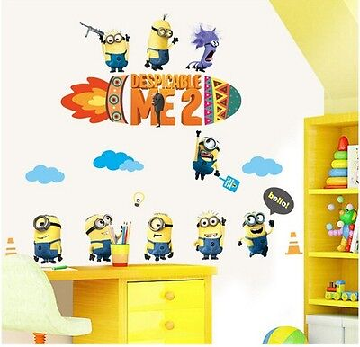 Despicable Me Minions Removable Decal Mural Kids Room Decor Wall Stickers AY9147