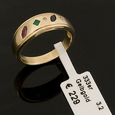 Goldring multicolor 333er Gold 8kt Rubin Smaragd Saphir Diamant Ring Gr. 17/53