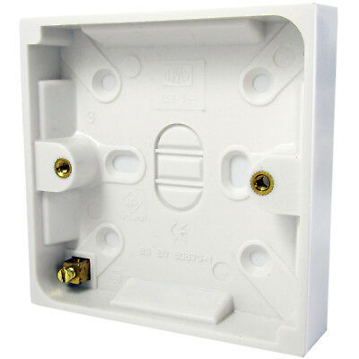 16mm Deep Single Plastic Surface Mounted Back Box - 1 Gang Wall Pattress Outlet