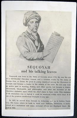 **' Sequoyah And His Talking Leaves ~ Cherokee Nation ~ Indian Language~ Rppc