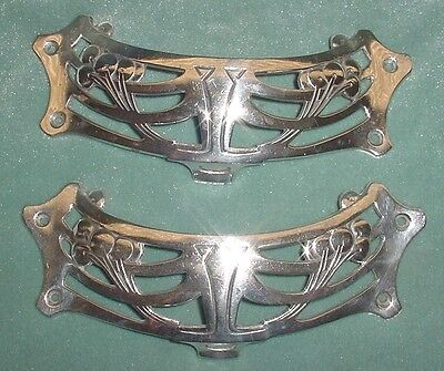 Antiq Art Deco Silverplated Bronze Furniture Piano Pull Handles 2 Pcs Set Signed
