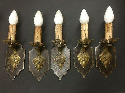 Set Of Five Spanish Iron Sconce Lights
