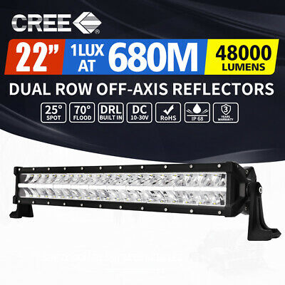 【20%OFF】22inch Cree LED Light Bar Dual Row Off-Axis Reflectors Driving Lamp