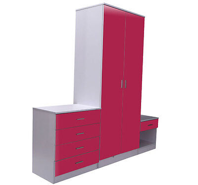 Pink & White Gloss Bedroom Furniture 3 Piece Trio Set Wardrobe, Chest & Bedside