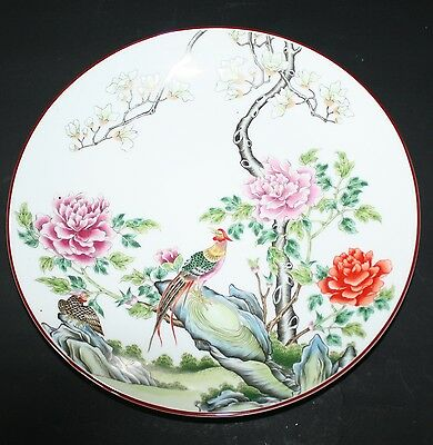 CHINESE LARGE DISPLAY PLATE PEONY FLOWERS & EXOTIC BIRDS DESIGN BROWN EDGING
