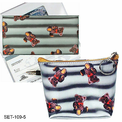 SETOF2- 3D Lenticular Teddy Bear Teddybear Checkbook Cover Purse #SET109-5#