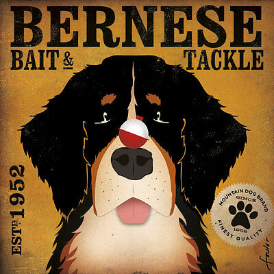Bernese Mountan Dog Bait & Tackle Company Retro Style Advertising Poster Print