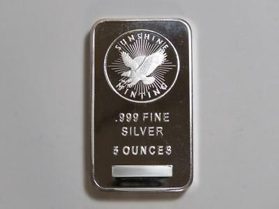 5 oz Silver Bar - Sunshine Minting w/ Mint Mark SI - Five Ounce 999