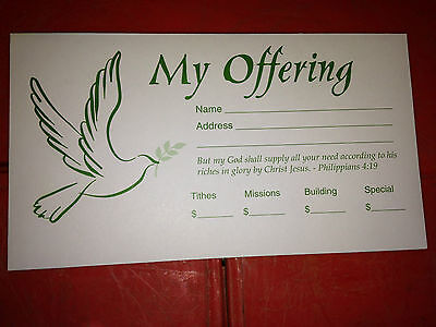 500 Offering Tithing Envelopes Church Tithe Dove Olive Branch GREEN Size 6 3/4