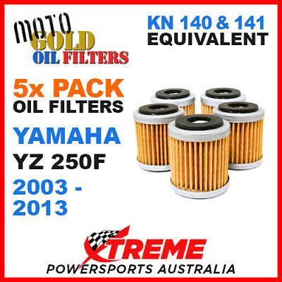 5 Pack Yamaha Yz250F Yzf250 2003-2013 Moto Gold Mx Oil Filter Kn 140 141 Of13