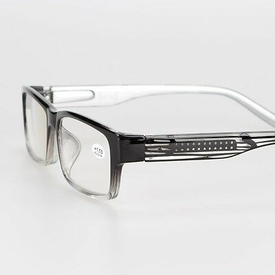 Black Square Men's Classic Spring Hinges Computer Reading Glasses +1.00 to +4.00