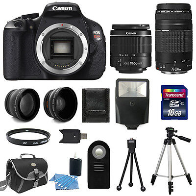 Canon EOS Rebel T3I 600D Body + 4 Lens Kit 18-55 IS +75-300 +16GB Flash & More