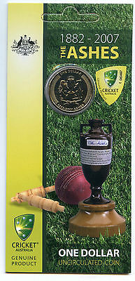 2007 $1 UNC The Ashes Cricket Coin On Card