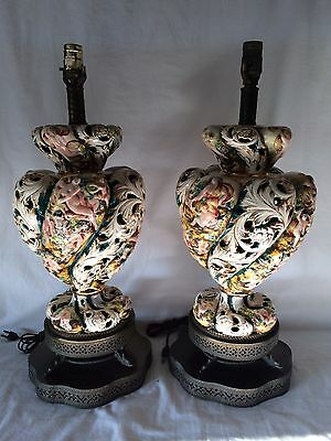 Pair Large Vintage Capodimonte Porcelain Lamps Nude Ladies Cherubs Flowers