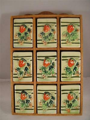 Vintage (9) Spice Shakers + Wooden Rack Strawberry Pattern Japan Wall Hanging VG
