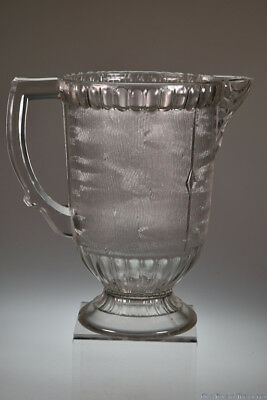 4Q 1800's TREE BARK by Unknown CRYSTAL Handled Water Pitcher