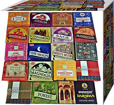 Incense Dhoop Cones HEM,Nag Champa, Satya Goloka  Buy 3 Get 1 Free (JUST ADD 4)