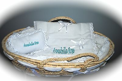 New Personalized Monogramed Baby Moses Basket includes Bedding Baby Gift Shower