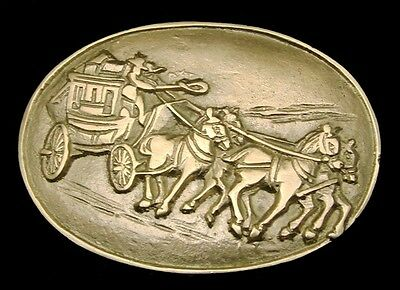 MH28131 *NOS* VINTAGE 1970s ***OLD WEST STAGECOACH*** SOLID BRASS BELT BUCKLE